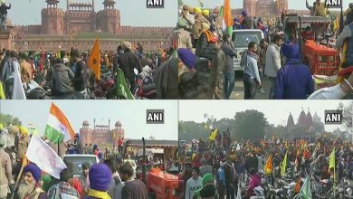 Farmers' tractor rally on-republic-day-chaotic-Red Fort farmers wave flag